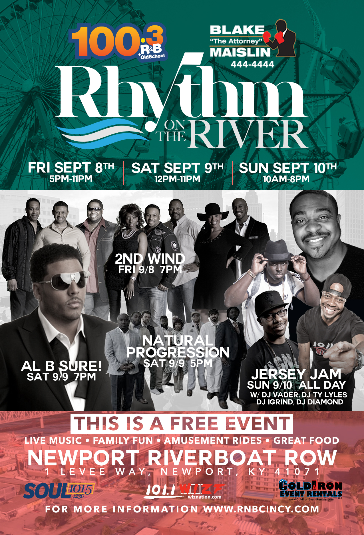 Al B. Sure! Performing at Rhythm on The River Newport, Kentucky Saturday September 9th, 2017