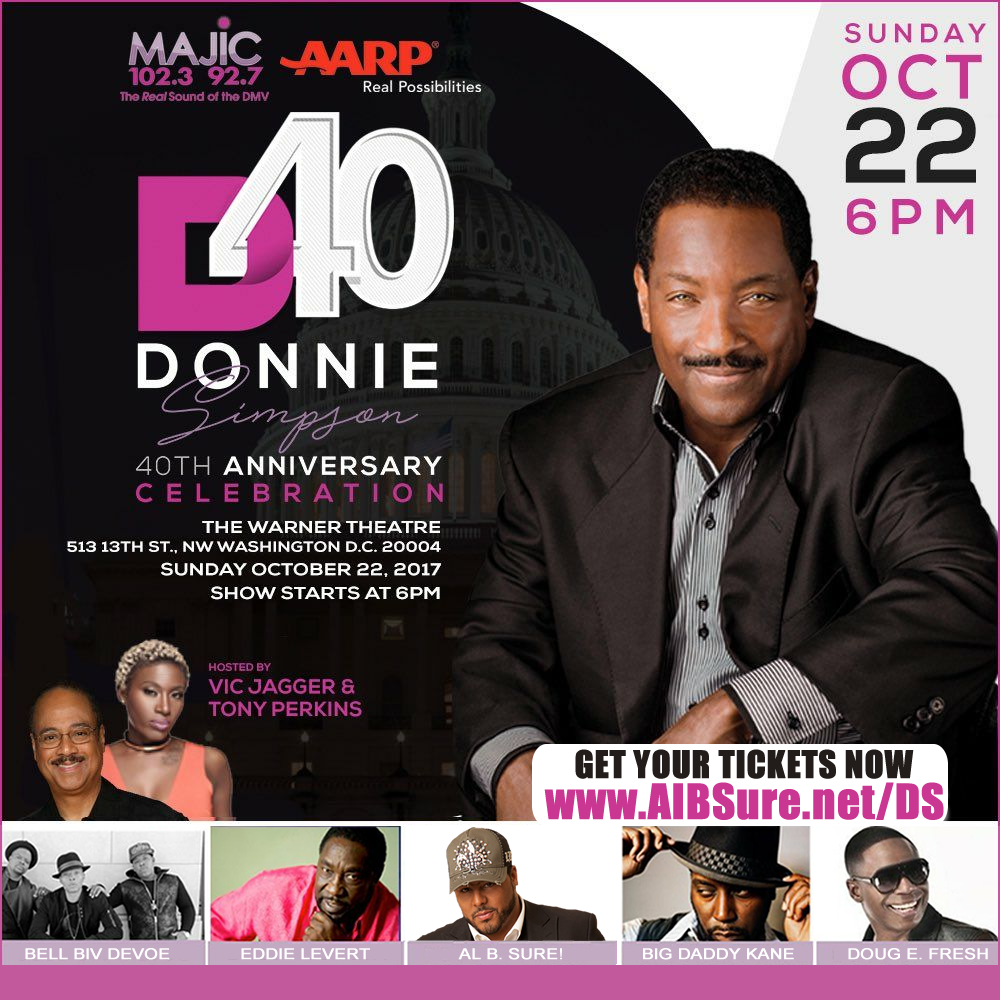 Al B. Sure! to perform at the 40th Anniversary Celebration for Donnie Simpson Wash D.C.