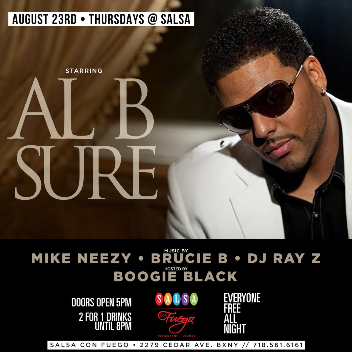 Al B. Sure! to perform @ Salsa in Bronx NY Thursday August 23rd, 2018